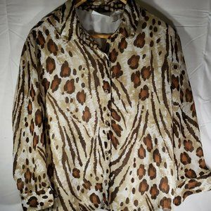 ALFRED DUNNER Brown Tan Animal Print  14
